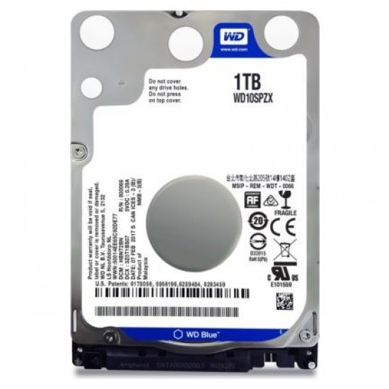 WD Blue 1TB 5400 RPM 128MB 2.5 SATA III 6 GB/s Cache 7 WD10SPZX Notebook Harddisk