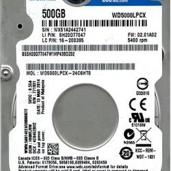 WD 2.5 500GB 5400Rpm 16MB Sata 3 WD5000LPCX Notebook Harddisk